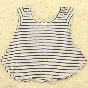 Girls' blue & white striped top